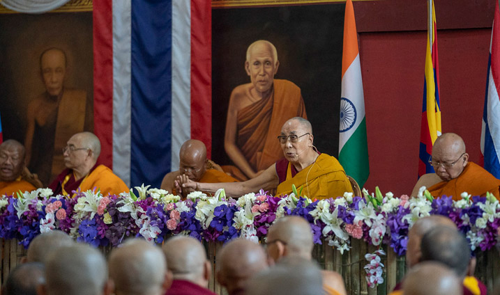 His Holiness the Dalai Lama delivering his inaugural address at the opening session of the International Seminar on the Tipitaka / Tripitaka at Watpa Buddhagaya in Bodhgaya, Bihar, India on December 22, 2018. (Photo courtesy: OHHDL/Lobsang Tsering)