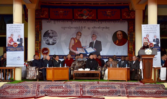 Chief guest Shri Pradeep Tamta, Member of Parliament, Rajya Sabha, speaking at the official function to celebrate the 29th anniversary of the conferment of the Nobel Peace Prize on His Holiness the Dalai Lama. (Photo courtesy: Tibet.Net)