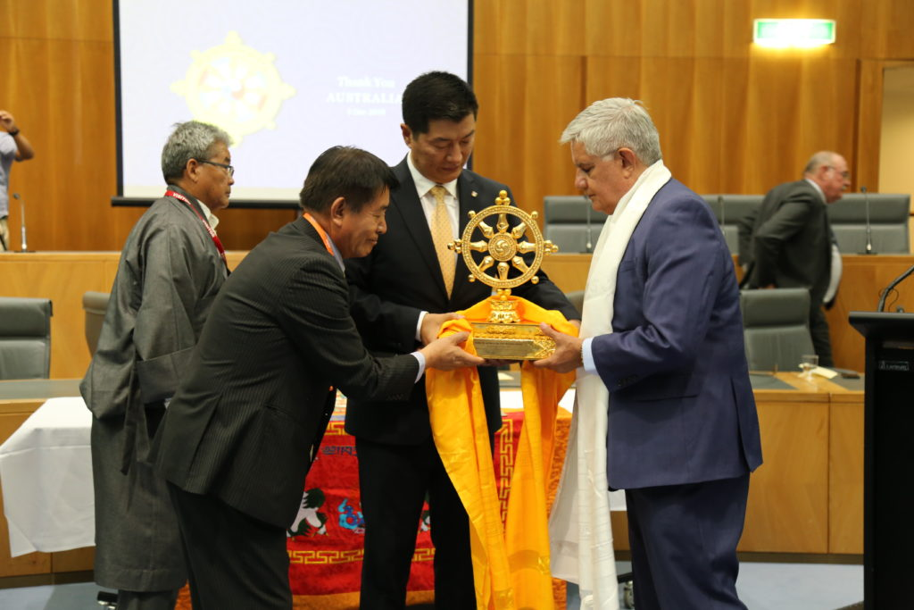 President Dr Lobsang Sangay and Representative Lhakpa Tshoko presenting the Thank You Australia memento to Honourable Ken Wyatt AM, MP,  Minister For Indigenous Health. (Photo courtesy: CTA/Namgyal Tsewang)