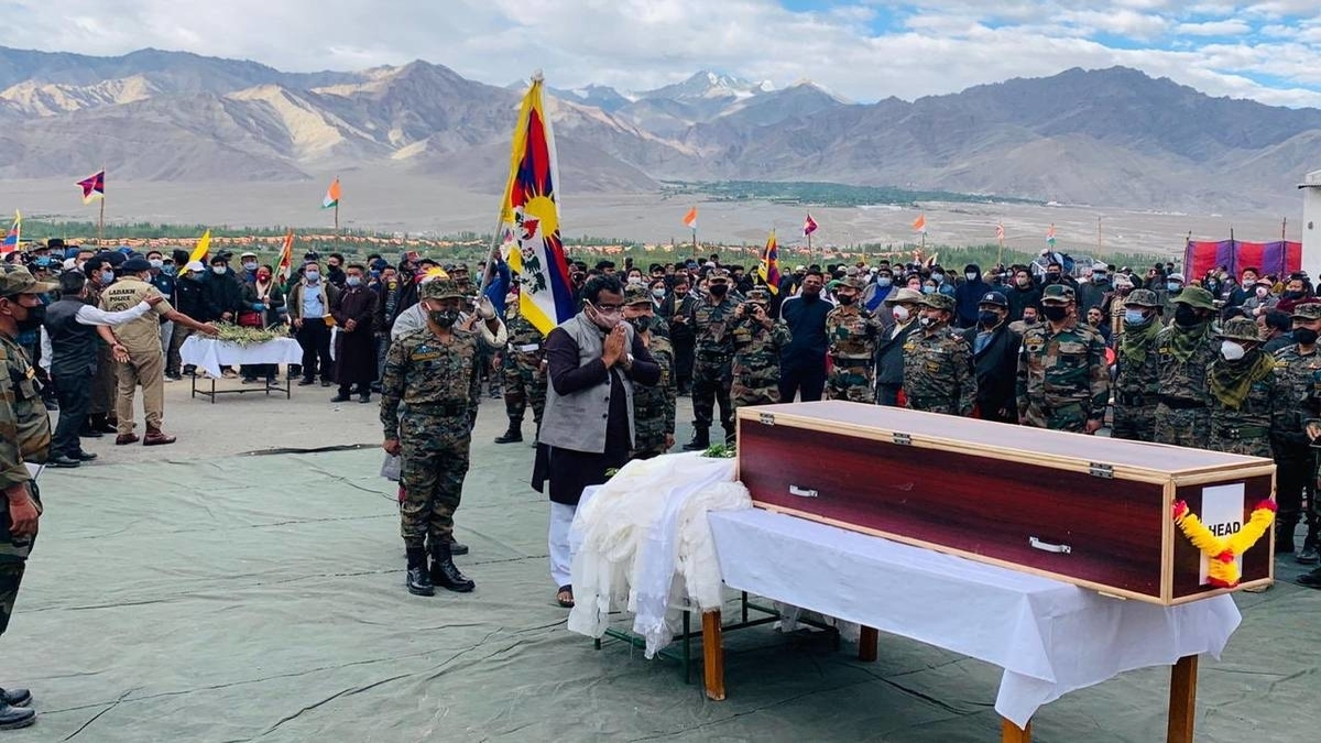 Tibetan officer of special Indian army unit who died while on Ladakh border duty laid to rest